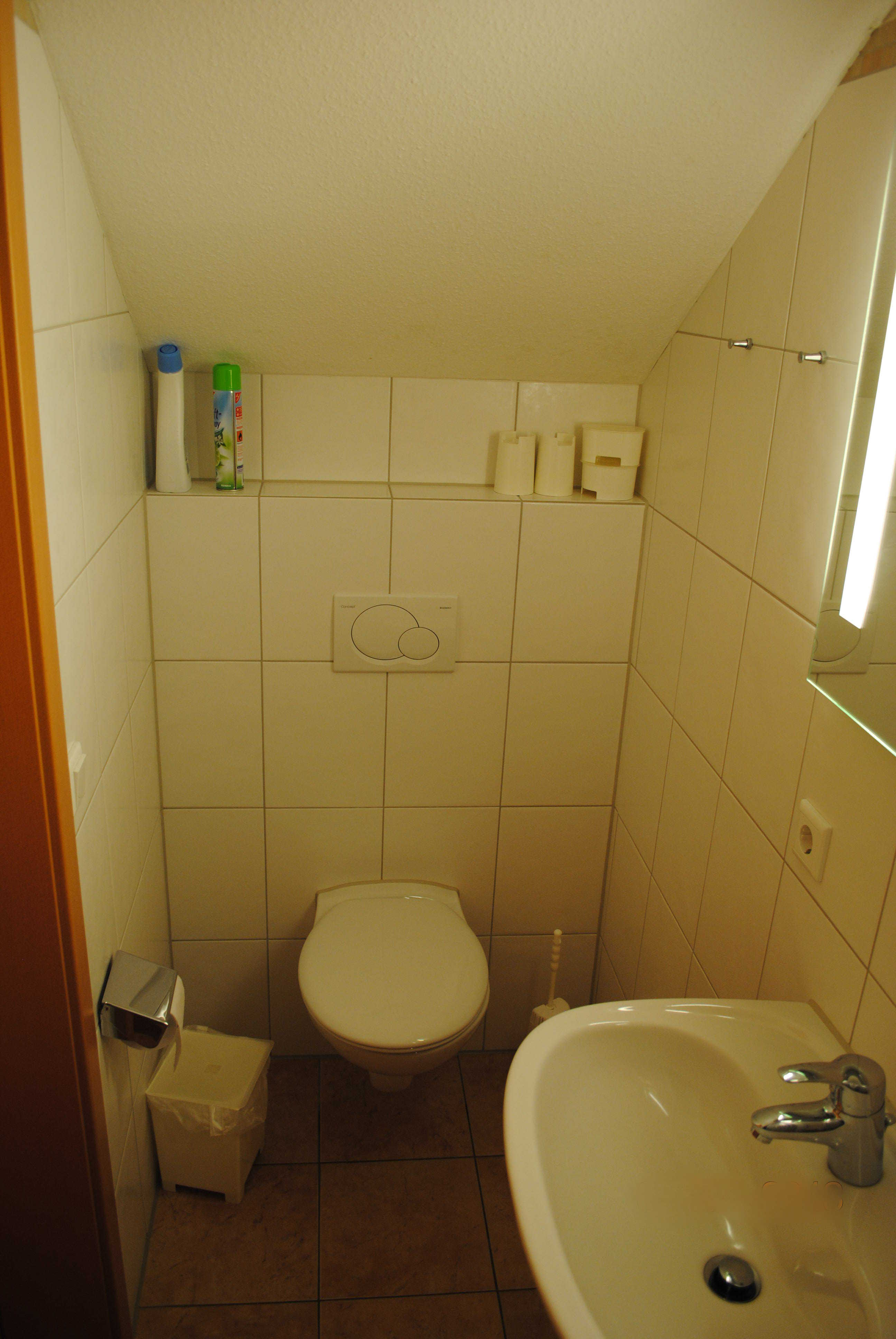 Die Toilette im unteren Bad