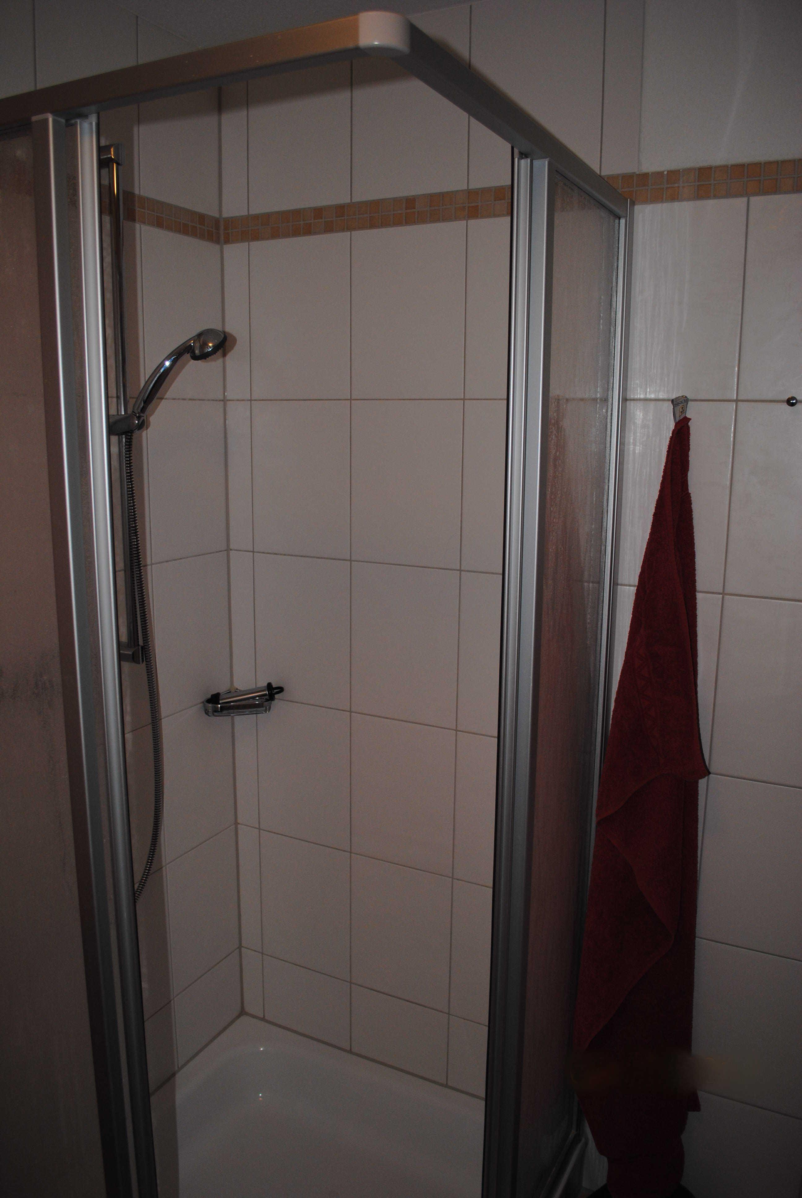 Die Dusche im oberen Badezimmer